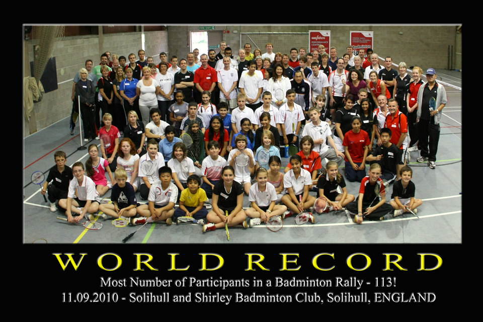 Solihull - World Record Holder for most participants in a badminton rally!